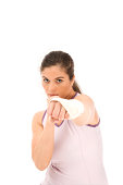 Woman throwing a boxing punch