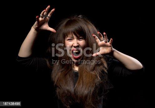 1138361116 istock photo Woman throwing a temper tantrum 187438495