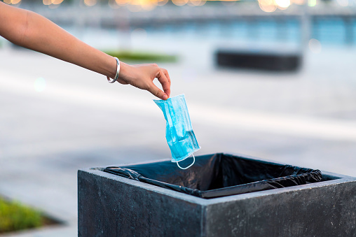 Woman throwing used protective surgical mask into the garbage bin. Close up of a hand that throws the used mask in the public trash can outdoors
