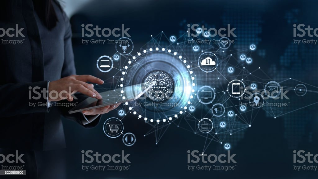 Woman touching a global network connection, Omni Channel and communications concept stock photo