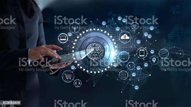 Woman touching a global network connection, Omni Channel and communications concept