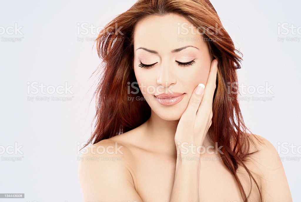 Woman touching her soft skin. royalty-free stock photo