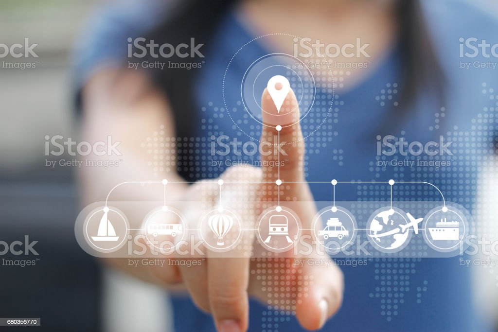 Woman touching icon travel online network connection on screen, traveler concept stock photo