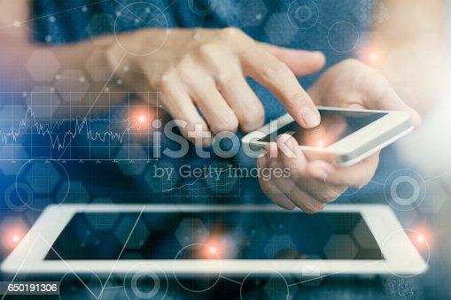 istock Woman touching screen of smart phone 650191306