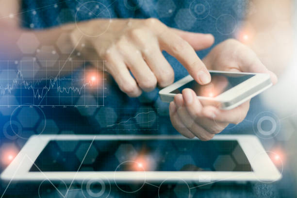 woman touching screen of smart phone - cloud software stock photos and pictures