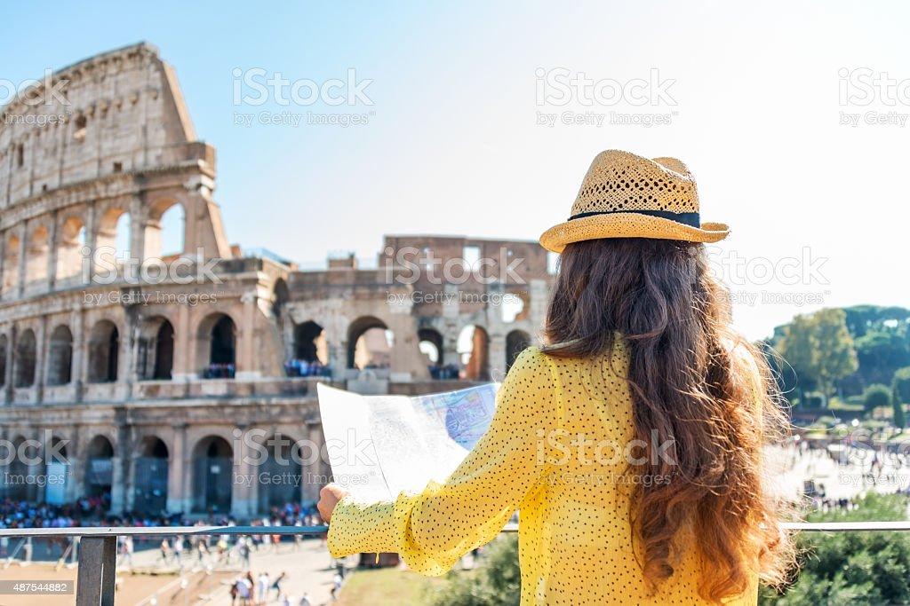 Woman tourist at Colosseum, Rome stock photo