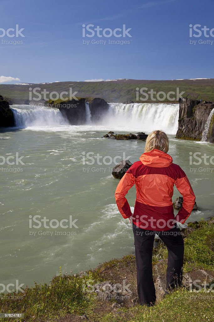 Woman Tourist At Godafoss Waterfall, Iceland royalty-free stock photo