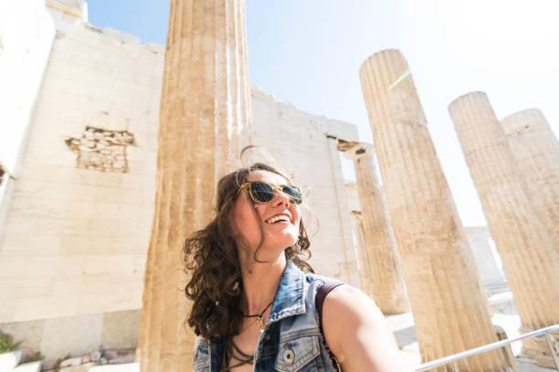 Woman tourist in Acropolis - Athens stock photo