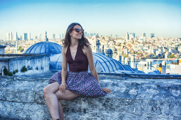 Woman tourist in Istanbul stock photo