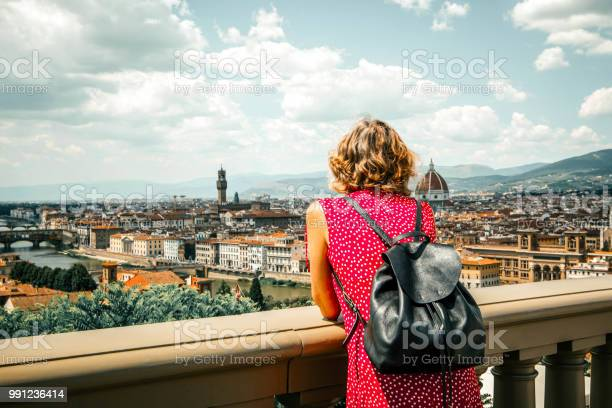 Woman tourist in red admires florence firenze from piazzale top picture id991236414?b=1&k=6&m=991236414&s=612x612&h=bwcxbewpspnmzgoohnbvsm61q cen6oqnuupy6 9uwi=