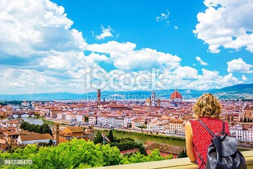Duomo Santa Maria Del Fiore, Bargello, Ponte Vecchio, Palazzo Vecchio in Florence architecture and landmark, skyline.