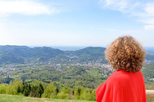 Woman tourist looking out over the Black Forest
