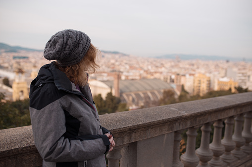 Woman tourist on vacation in Barcelona