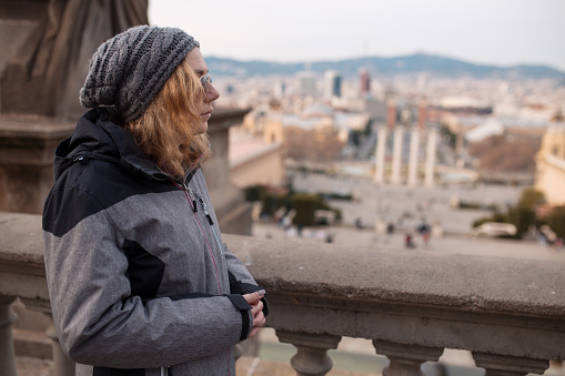 Woman tourist sightseeing Barcelona