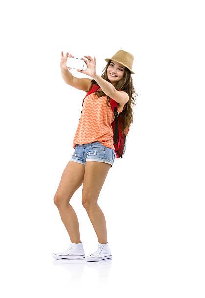 woman tourist taking selfie - selfie girl stockfoto's en -beelden