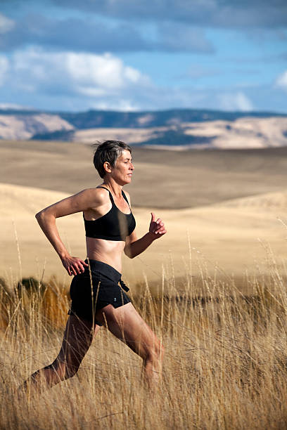 Woman Trail Running stock photo