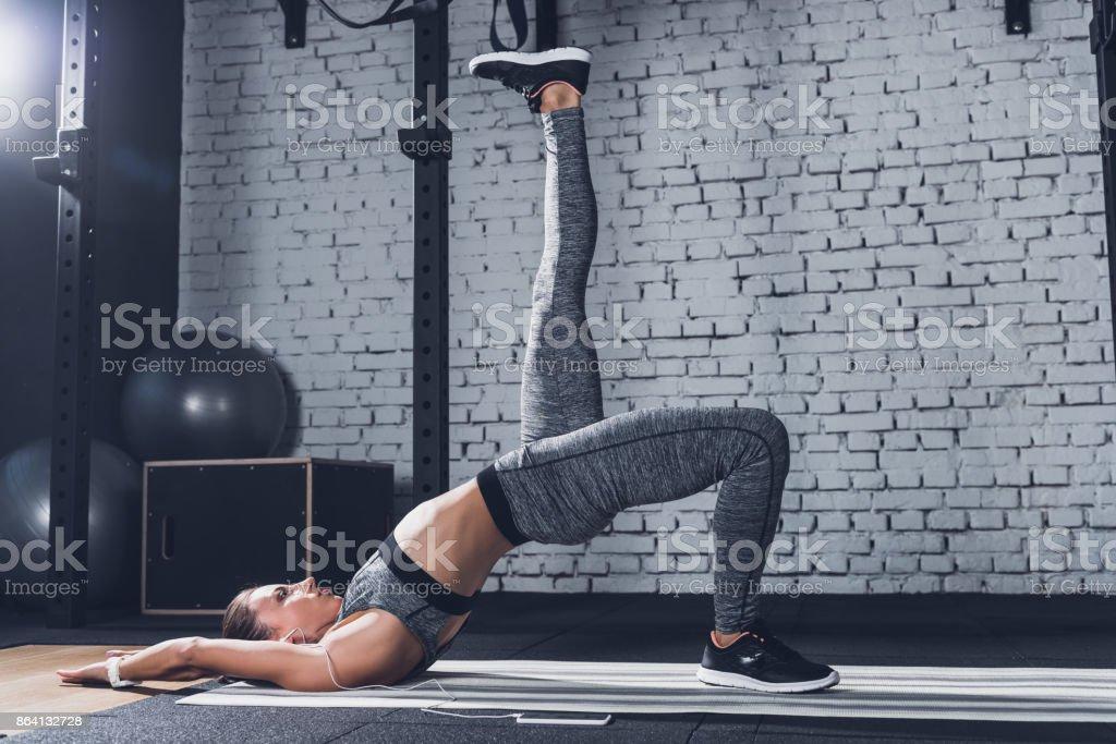 woman training on mat royalty-free stock photo