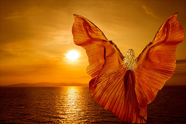 Woman transform butterfly wings flying, spirituality meditation concept, sea sunset Woman transform with butterfly wings flying on fantasy sea sunset, spirituality meditation concept reincarnation stock pictures, royalty-free photos & images
