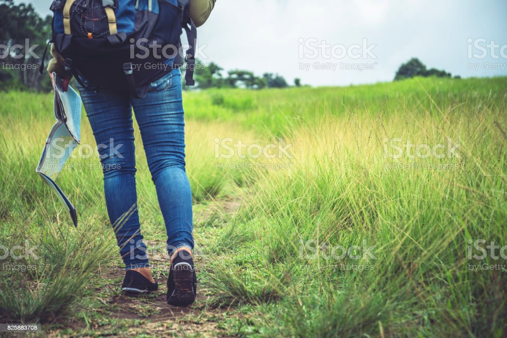 woman  travel. Asian women view map travel nature on the meadow stock photo