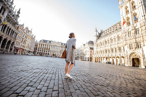 Woman traveling Brussels stock photo