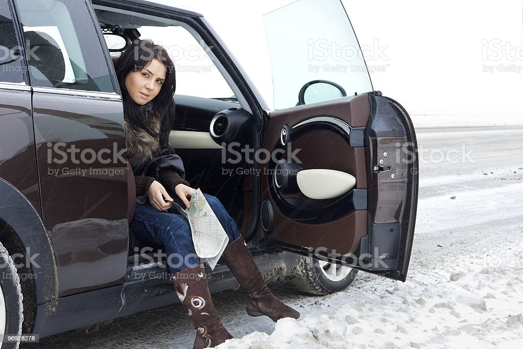 Woman traveling by car royalty-free stock photo