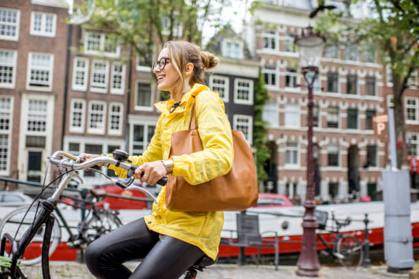 Woman traveling in Amsterdam stock photo