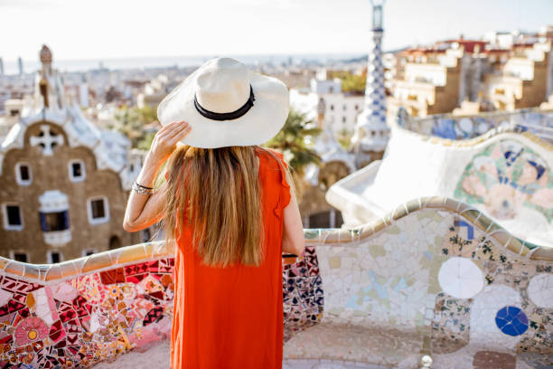 Woman traveling in Barcelona stock photo