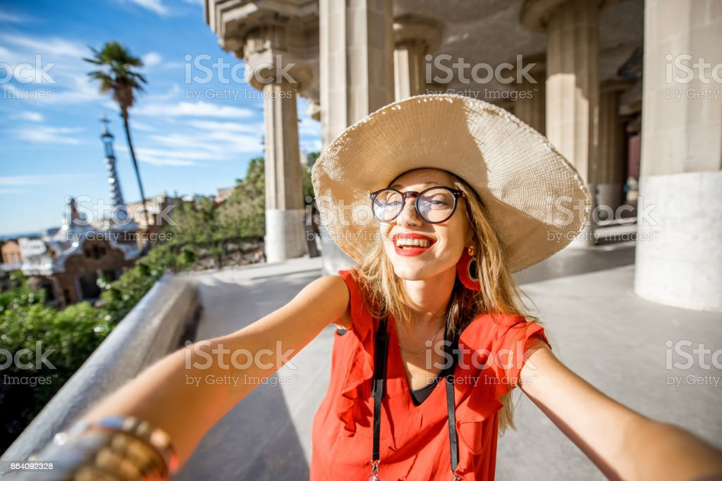 Woman traveling in Barcelona royalty-free stock photo