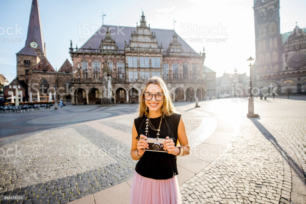 Woman traveling in Bremen city stock photo