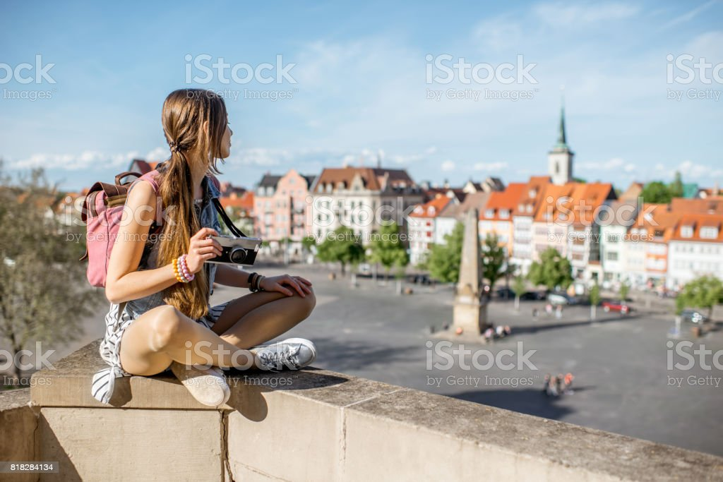 Woman traveling in Erfurt city, Germany stock photo