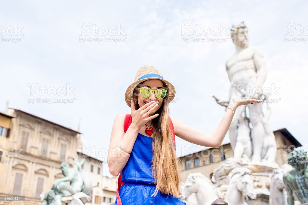 Woman traveling in Florence city royalty-free stock photo