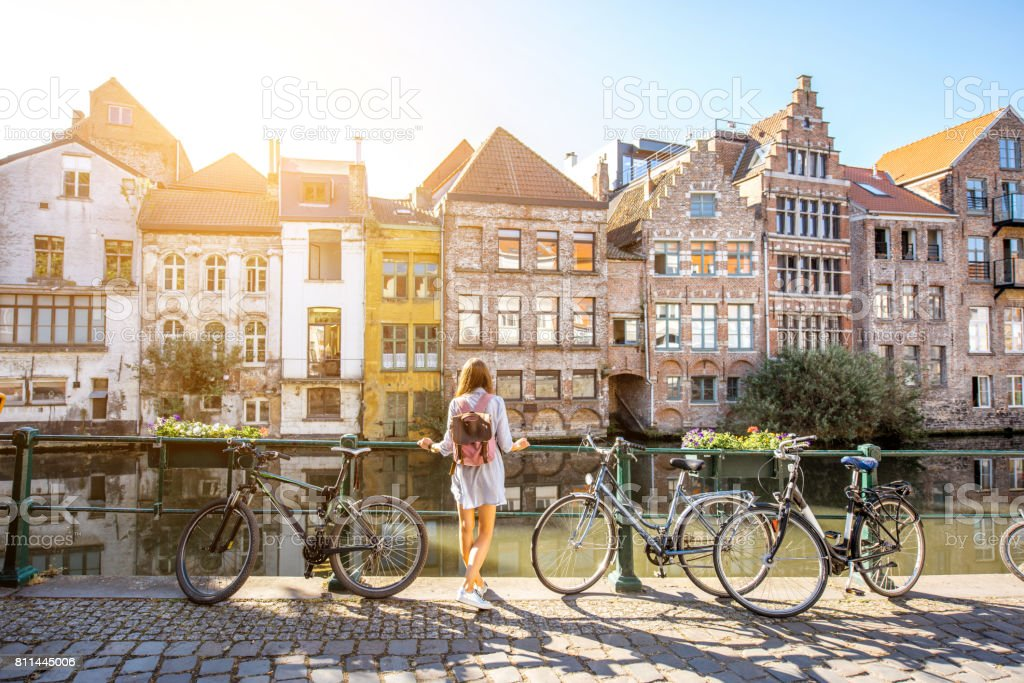 Woman traveling in Gent old town, Belgium stock photo