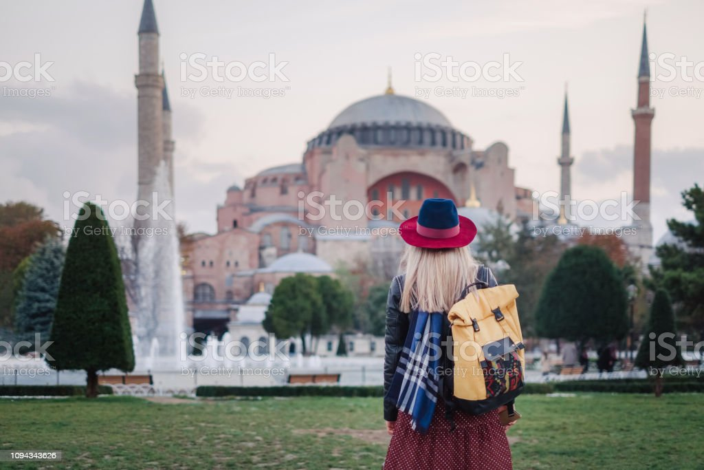 Woman traveling in Istanbul near Aya Sofia mosque, Turkey stock photo
