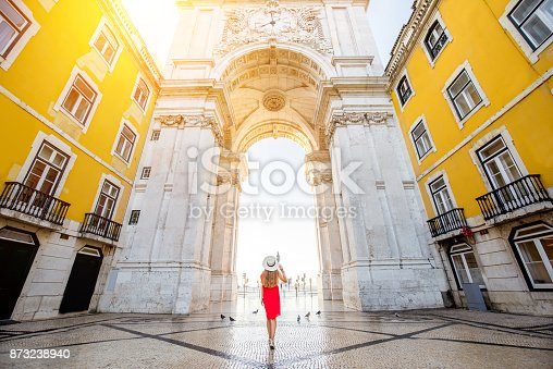 istock Woman traveling in Lisbon, Portugal 873238940