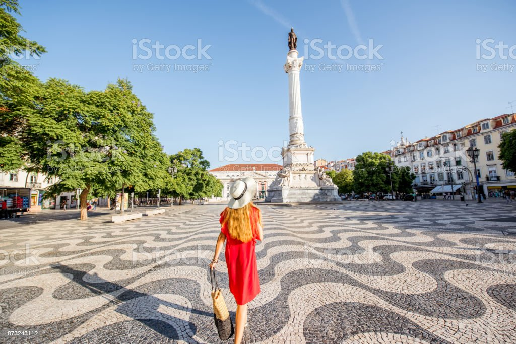 Woman traveling in Lisbon, Portugal stock photo