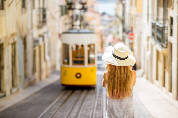woman traveling in lisbon, portugal - portugal stock photos and pictures