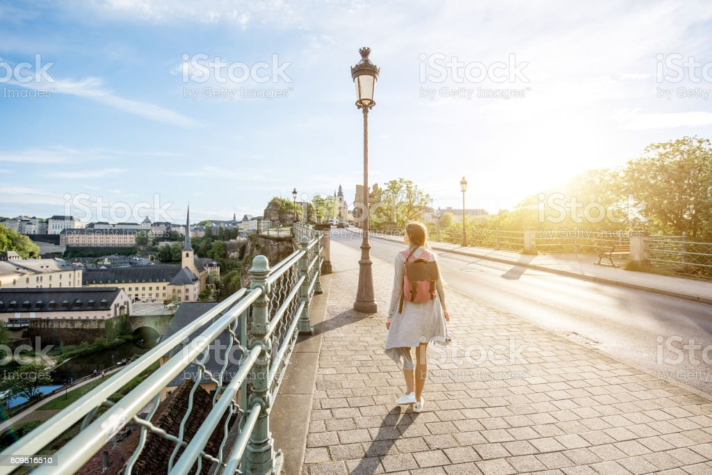 Woman traveling in Luxembourg stock photo