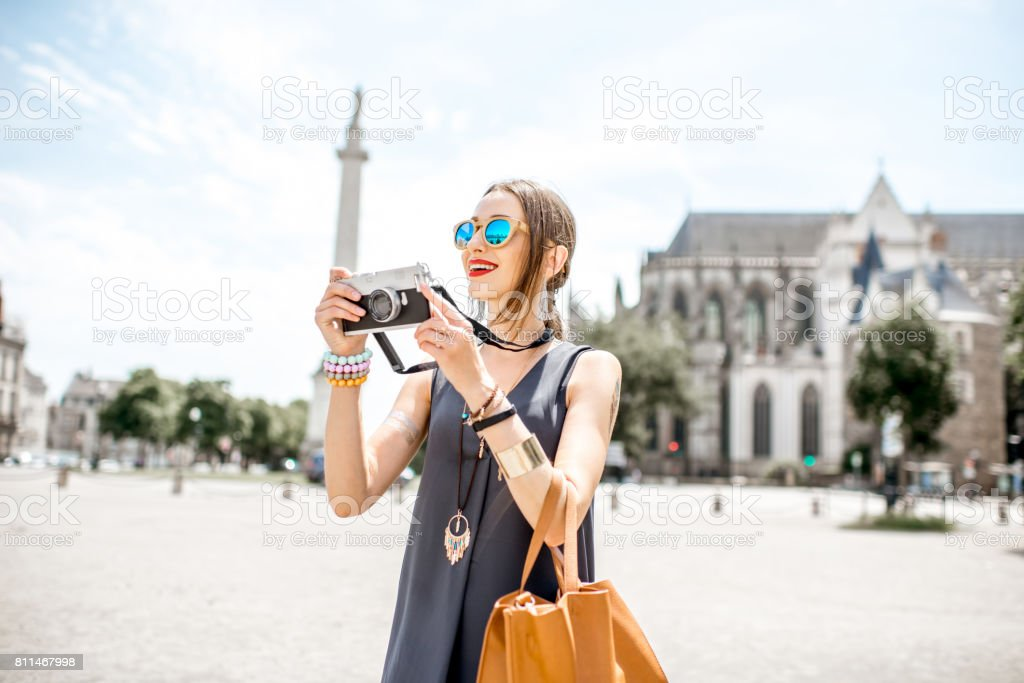 Woman traveling in Nantes city, France stock photo
