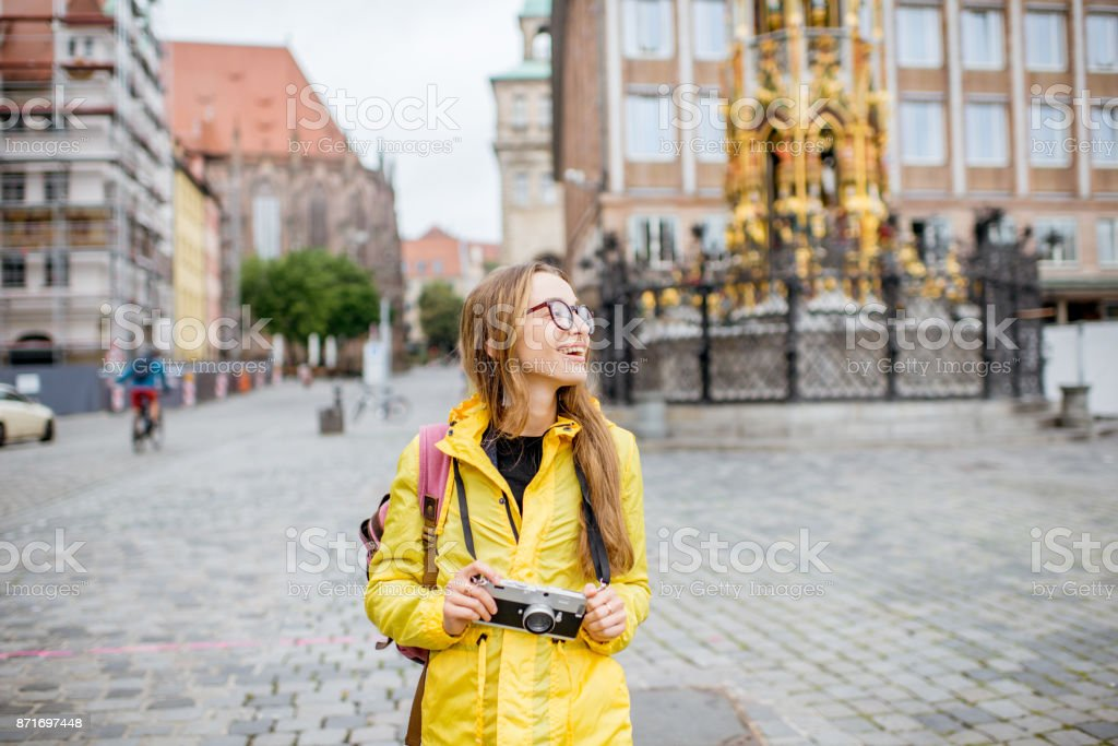 Woman traveling in Nurnberg city, Germany stock photo