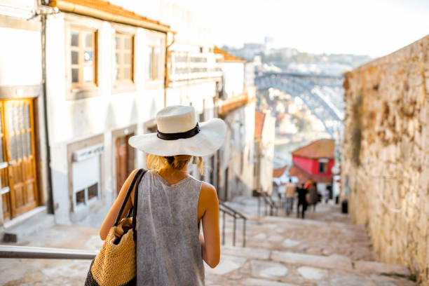 woman traveling in porto city - portugal stock photos and pictures