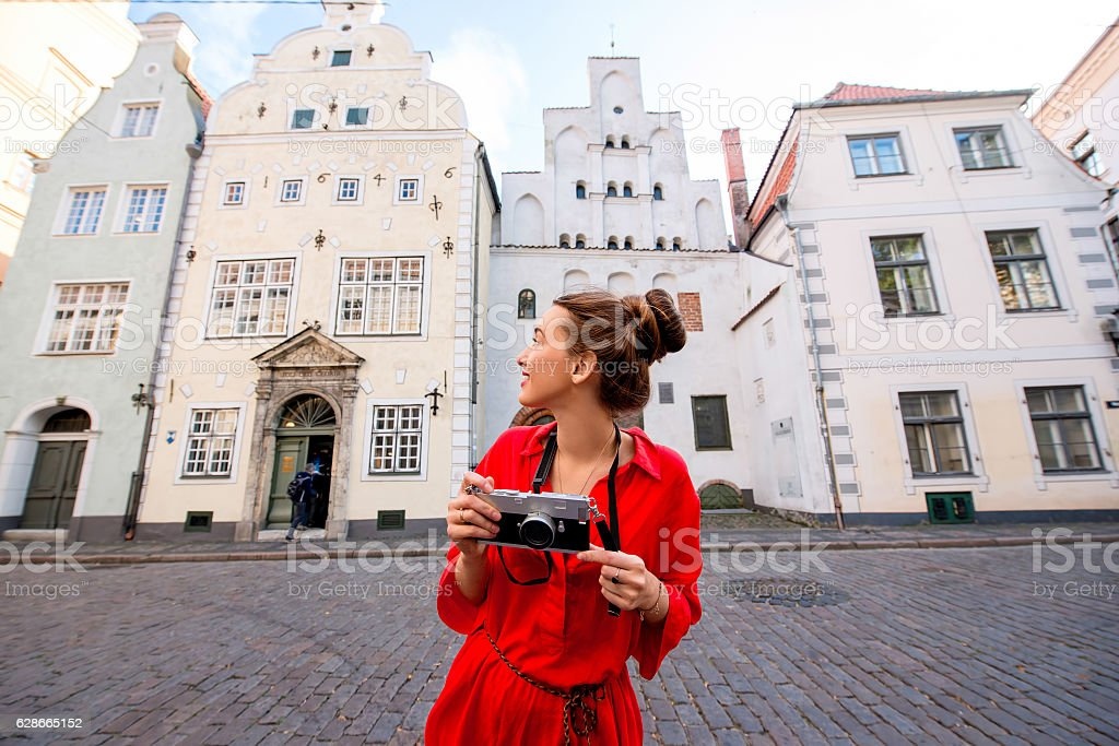 Woman traveling in Riga ストックフォト