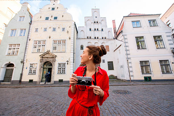 Woman traveling in Riga stock photo