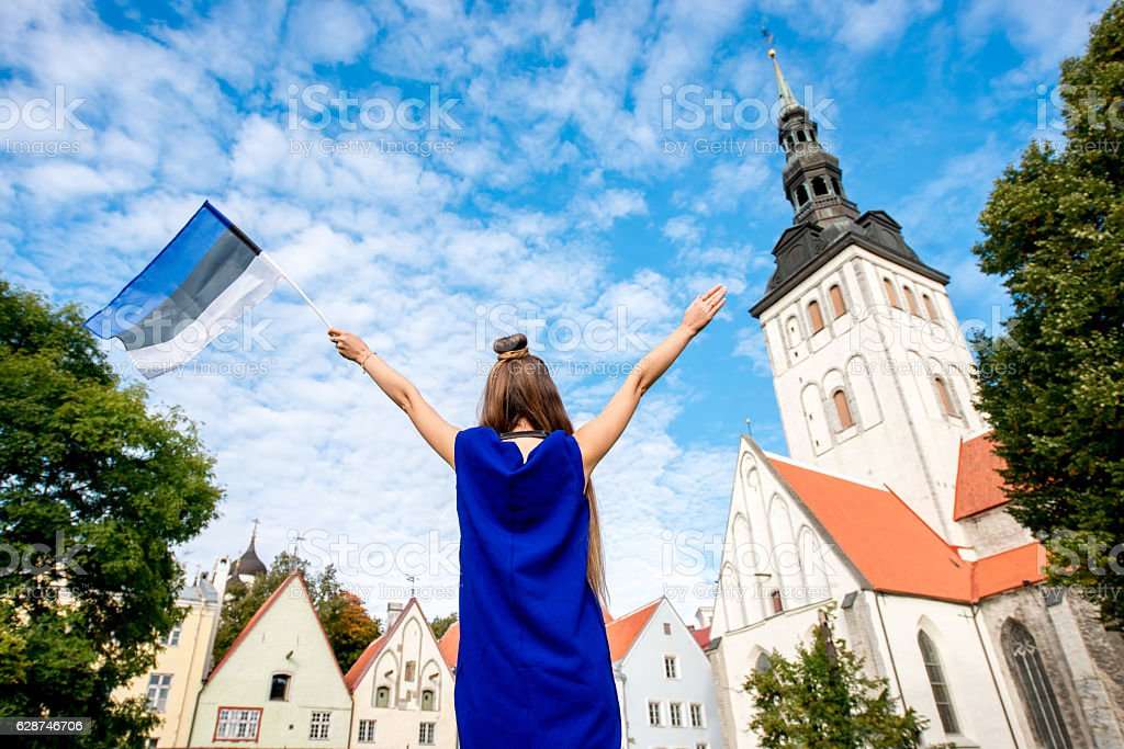 Woman traveling in Tallinn stock photo