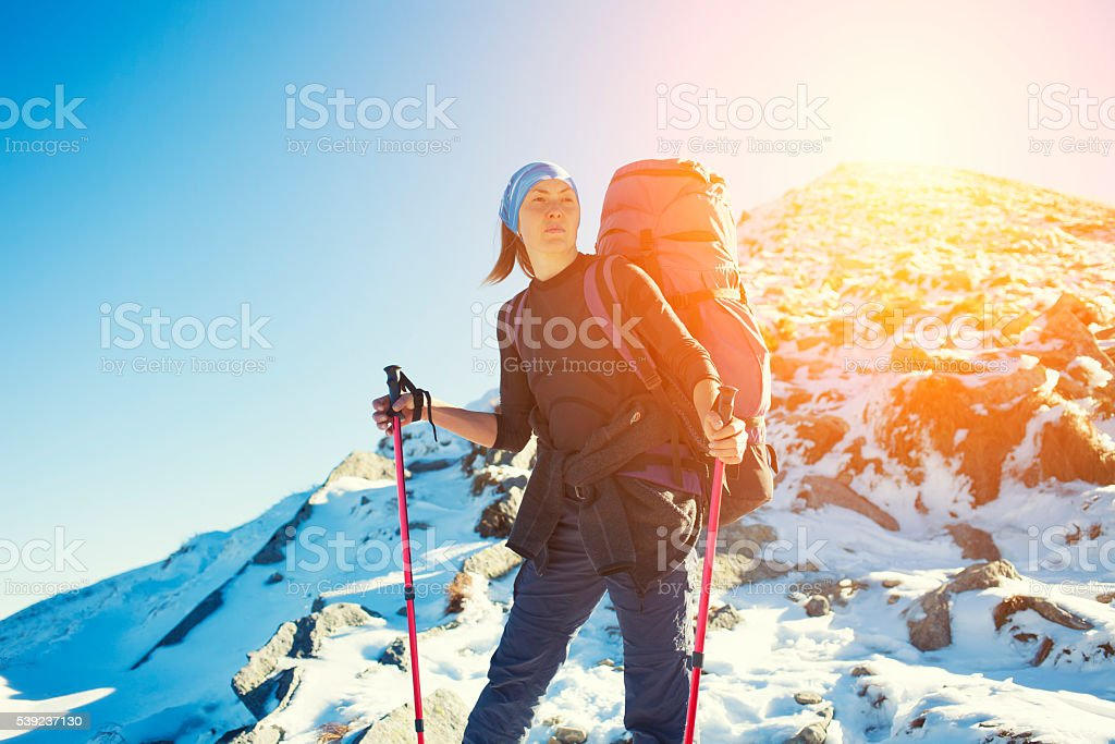 Woman traveling in the mountains. royalty-free stock photo