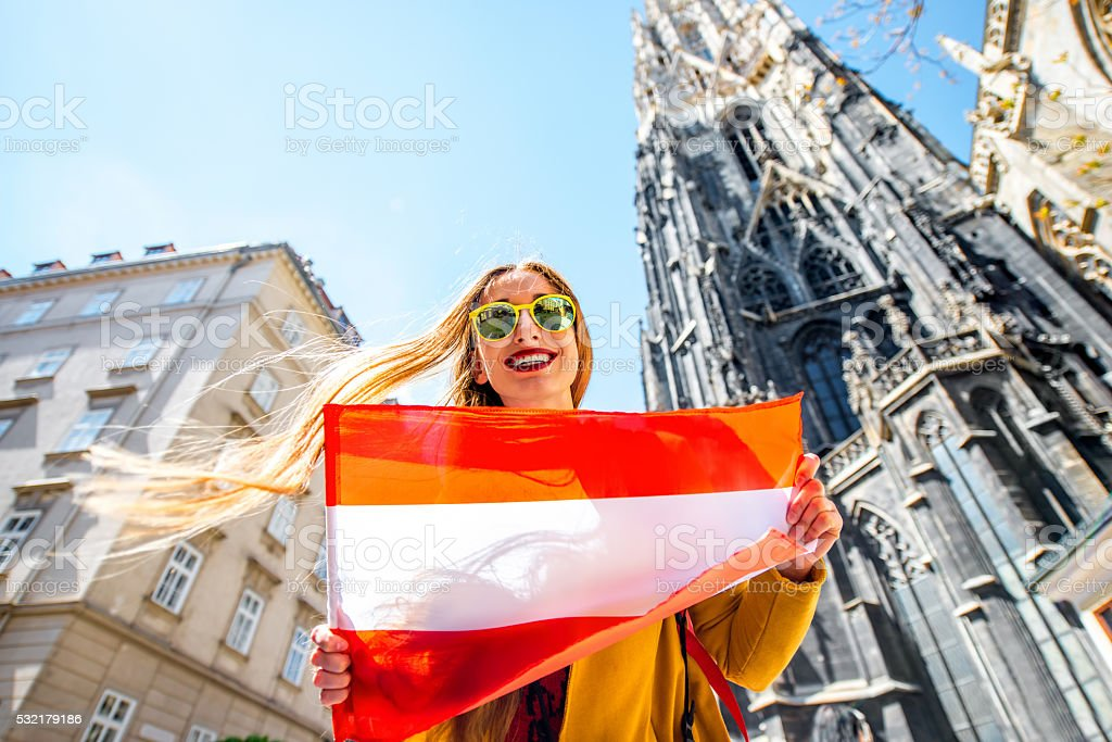 Woman traveling in Vienna stock photo