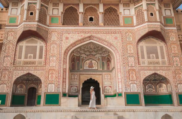 Woman Traveling India Jaipur Amber Fort stock photo