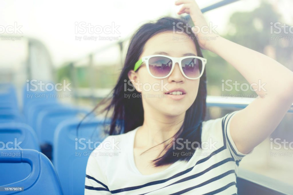Woman traveling on bus stock photo