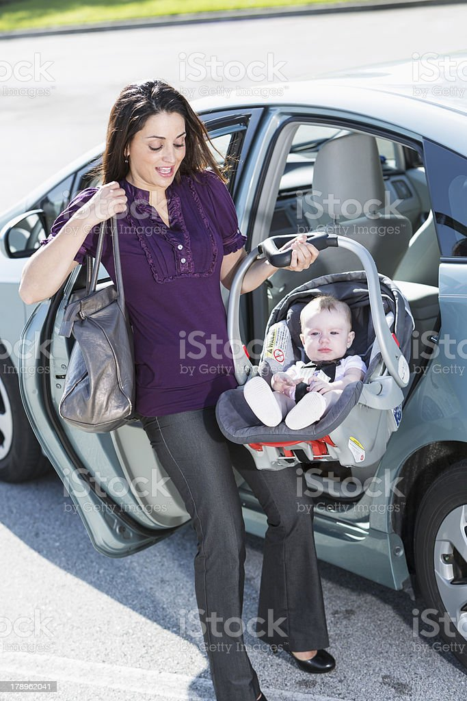 Woman traveling with baby stock photo