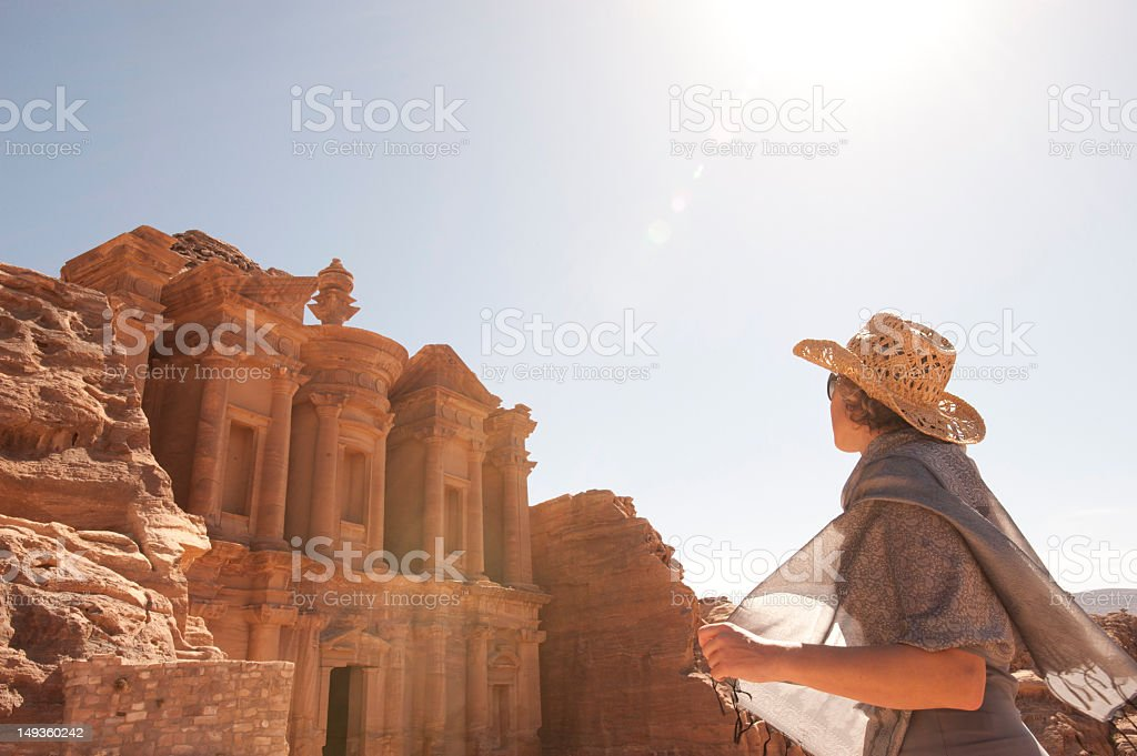 woman traveller at ruin. stock photo
