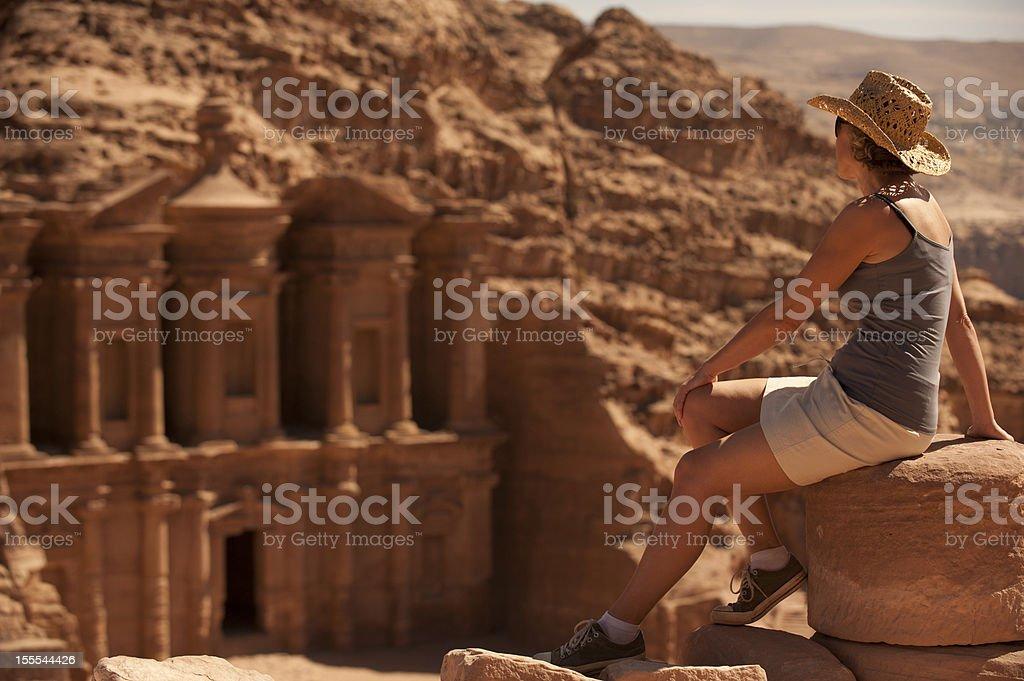 Woman traveller at ruin. royalty-free stock photo